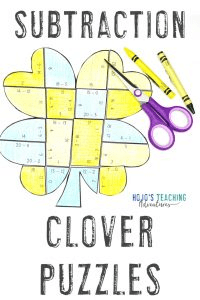 Click here to buy these subtraction clover puzzles for St. Patrick's Day!