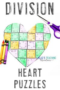 Division Valentine's Day Activities - Heart Shaped Math Puzzle