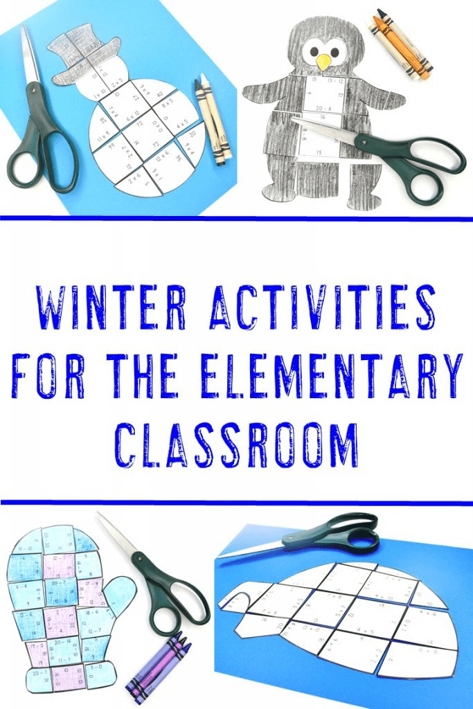 Winter Activities for the Elementary Classroom - Igloo, Snowman, Penguin, & Mitten Puzzles