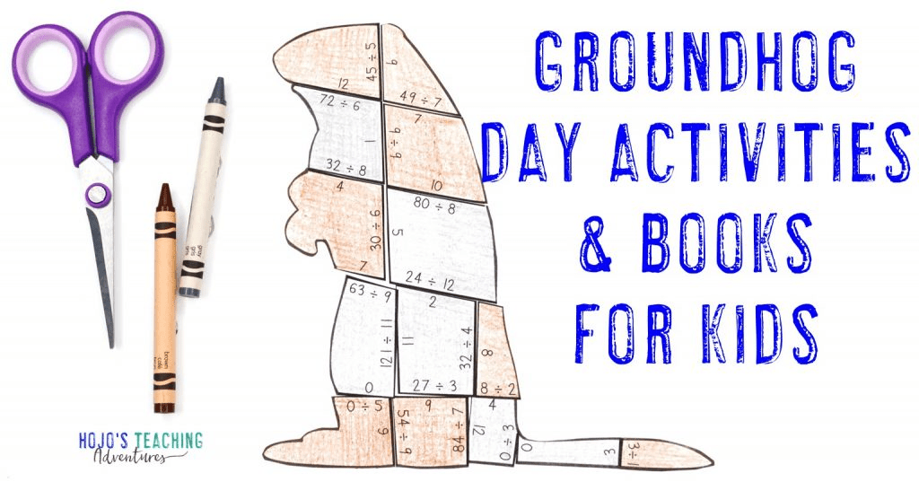 Groundhog Day Activities & Books for Kids with an image of a division groundhog puzzle