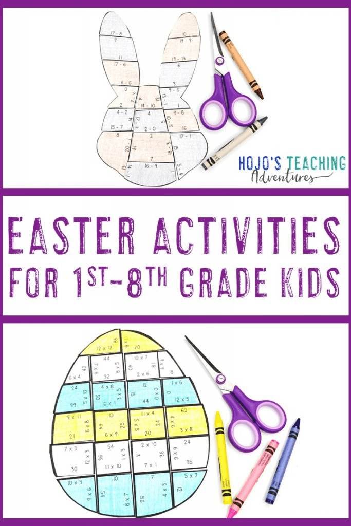 Easter Activities for 1st-8th Grade Kids - with pictures of bunny and Easter egg puzzles