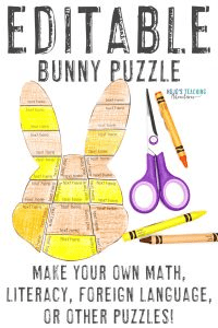 Click to buy an EDITABLE bunny puzzle to create your own math, literacy, foreign language, or other puzzle!