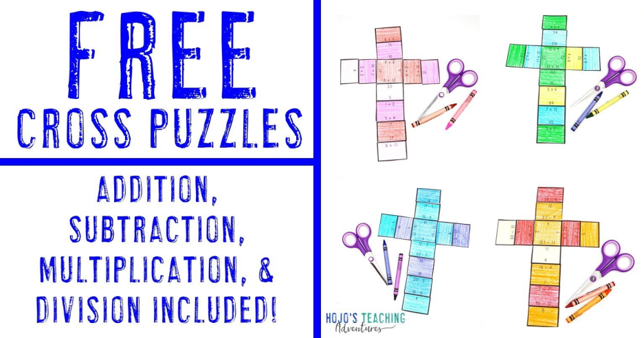 FREE Cross Puzzles for Basic Math Facts