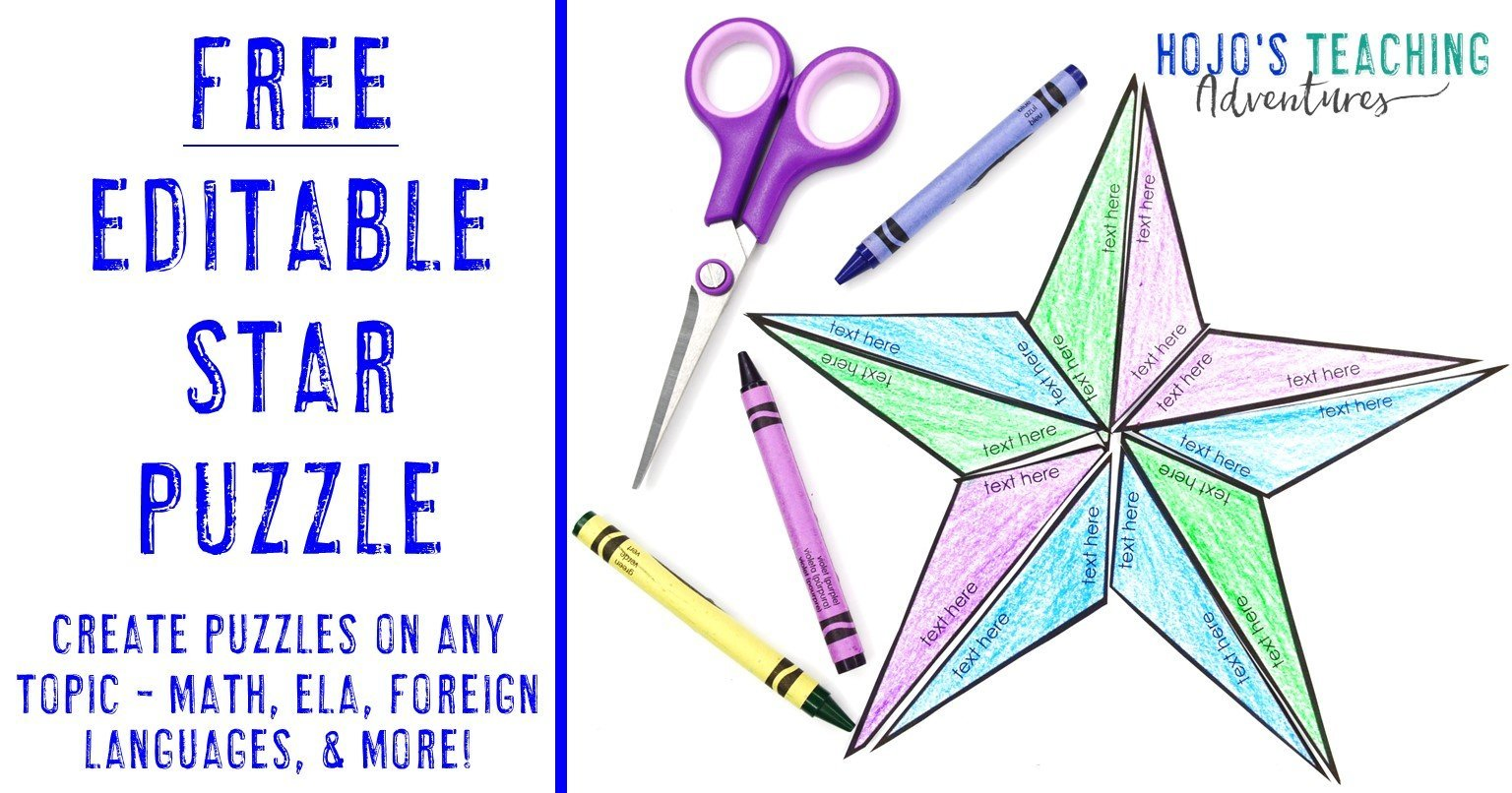 FREE Editable Star Puzzle - Create activities on ANY topic - math, ELA, foreign languages, & more - plus a picture of an editable star puzzle
