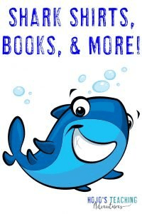 Shark Shirts, Books, & More - with smiling cartoon shark