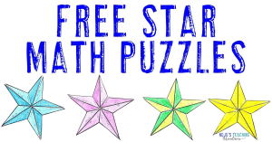 FREE Star Math Puzzles with images of four different puzzles