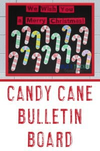 "Candy Cane Bulletin Board - ""We Wish You a Merry Christmas!"" with candy cane puzzles"