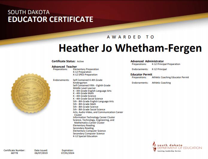 A copy of Heather Jo Whetham-Fergen's teaching certificate - 2019-2024