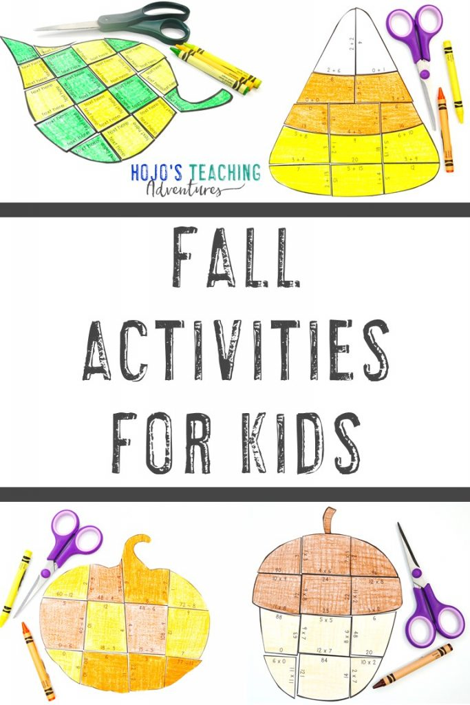 Fall Activities for Kids (with a leaf, candy corn, pumpkin, and acorn puzzle each pictured)