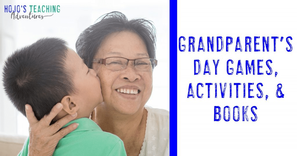Grandparent's Day Games, Activities, and Books with a grandson kissing him grandma