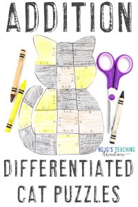 Click to get your differentiation ADDITION cat math activities!
