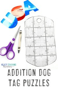 Click to buy some ADDITION dog tag activities now!