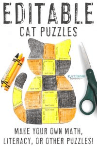 Click to get your differentiated EDITABLE cat puzzle activities!