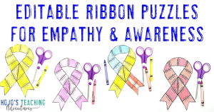 Editable Ribbon Puzzles for Empathy & Awareness with four differently colored puzzles