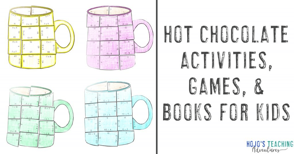 Hot Chocolate Activities, Game, & Books for Kids with four mug puzzles