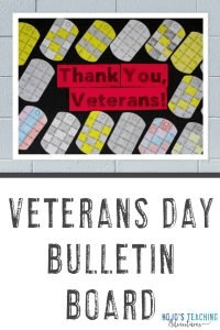 "Veterans Day Bulletin Board - ""Thank you, Veterans!"" with dog tag ID puzzles"