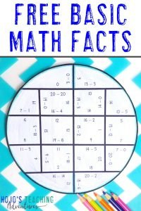 FREE Basic Math Fact Circles with a subtraction puzzle shown