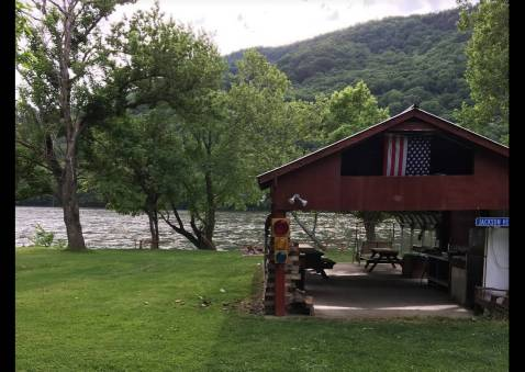 Shelter with Picnic Tables, Refrigerator/Freezer, and Bluetooth Sound System
