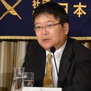 2015年10月8日 日本外国特派員協会で記者会見した津田敏秀教授