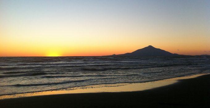 利尻富士の景色、北海道のオロロンライン