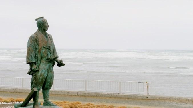間宮林蔵の像。宗谷岬