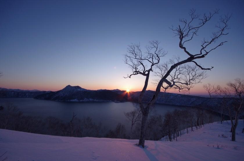 摩周湖・冬の夕景