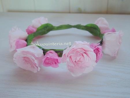 バラで作るハンドメイド花冠