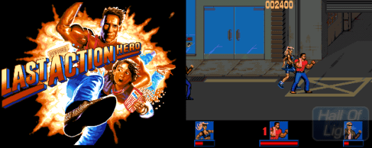 Psygnosis doggedly pursued pre-historic game designs as late as 1994 and grafted movie licenses on them to hide the short-comings of Last Action Hero (pictured, courtesy of Abime.net), Cliffhang and Bram Stoker's Dracula.