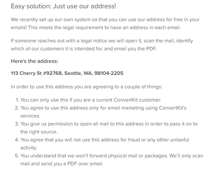 提供地址避免 垃圾郵件