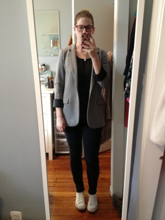 And on Friday I kept it comfortable in a cotton over-sized blazer, worn-in black jeans and classic white Converse. Gray cotton blazer (Express), black tank (Target), black jeans (Uniqlo), white high-tops (Converse) and longitude/latitude necklace (Etsy).