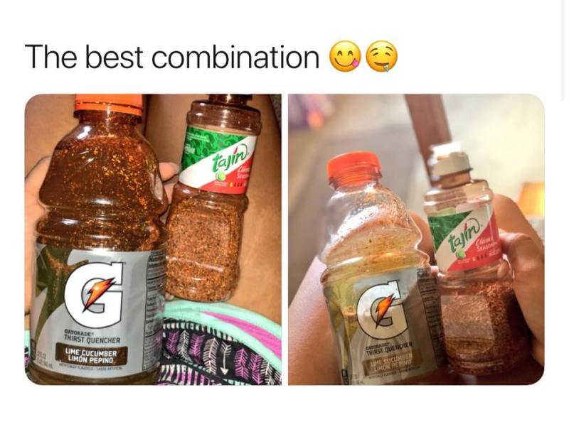 The best combination tajin with gatorade lime cucumber
