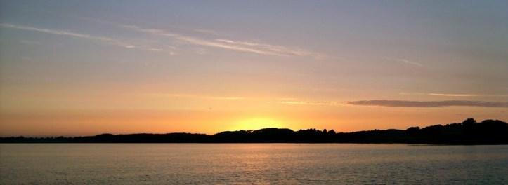 Solnedgang over Tuse Næs - Ankerplads W. for Hørby havn