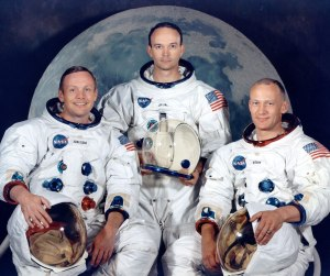 Holdet på Apollo 11. Fra venstre Neil Armstrong, Michael Collins, and Buzz Aldrin. Foto: NASA.