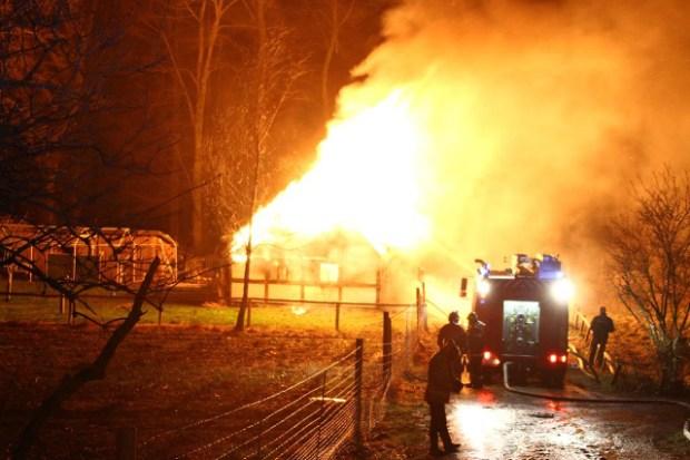 En 34-årig mand blev fredag idømt 4,5 års fængsel for bl.a. at have sat ild til denne stråtækte ejendom. Foto: Skadestedsfotograf.dk/Johnny D. Pedersen.