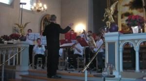 Holbæk Bras Band var også med ved julekoncerten i Skt. Nikolai Kirke. Foto: Jesper von Staffeldt.