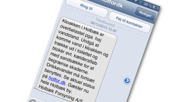 SMS'en fra Holbæk Forsyning, der fortæller om kloakproblemerne i Holbæk by.
