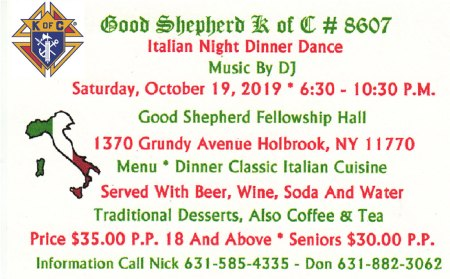 K of C Italian Night Dinner Dance @ Good Shepherd Fellowship HaII | Holbrook | New York | United States