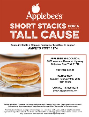 AMVETS Post 1174 Short Stacks for a Tall Cause @ Applebee's   Bohemia   New York   United States