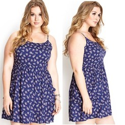 Blue dress with white florals. Flowing and loose Cami-style.