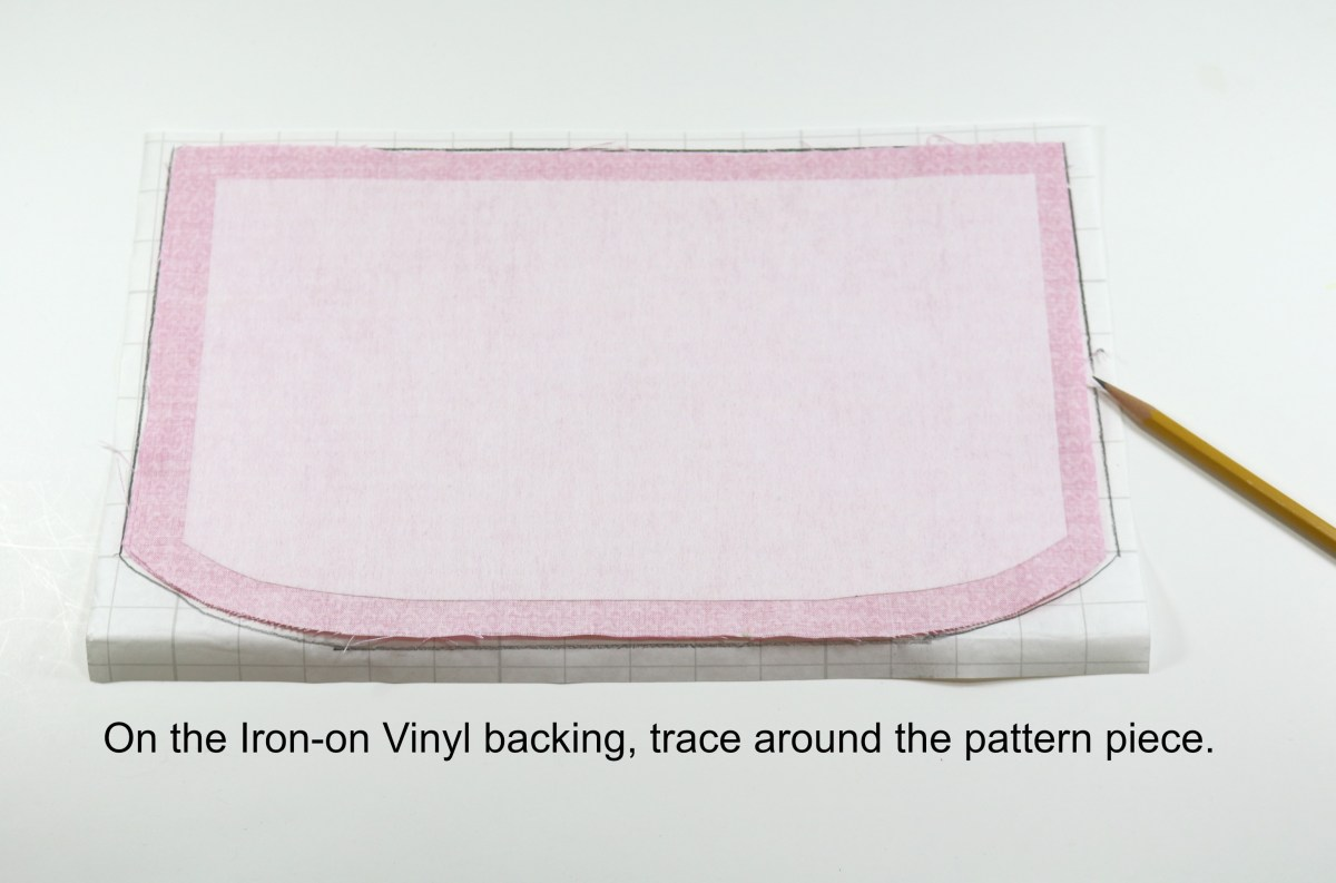 4 - On the Iron-on Vinyl backing, trace around the pattern piece