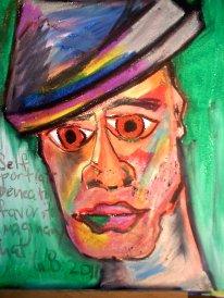 Self Portrait Under My Favorite Imaginary Hat 12in x 18in