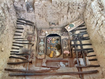 Tomb of the Lord of Sipan discovered near Chiclayo, Peru has been recreated to show how the grave looked after excavation