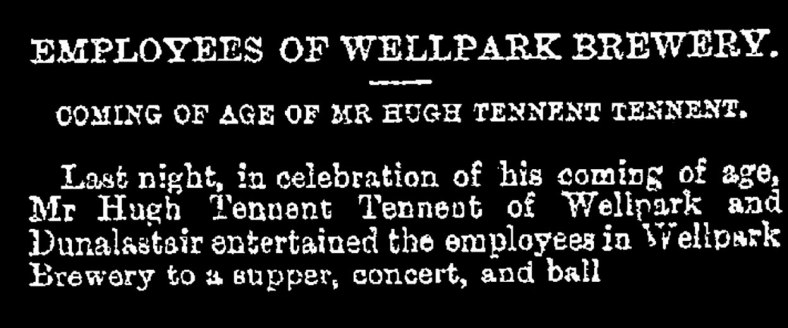 Coming of age of Hugh Tennent, Well park Brewery