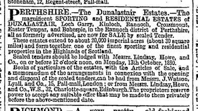 Sale of Dunalstair, 1890