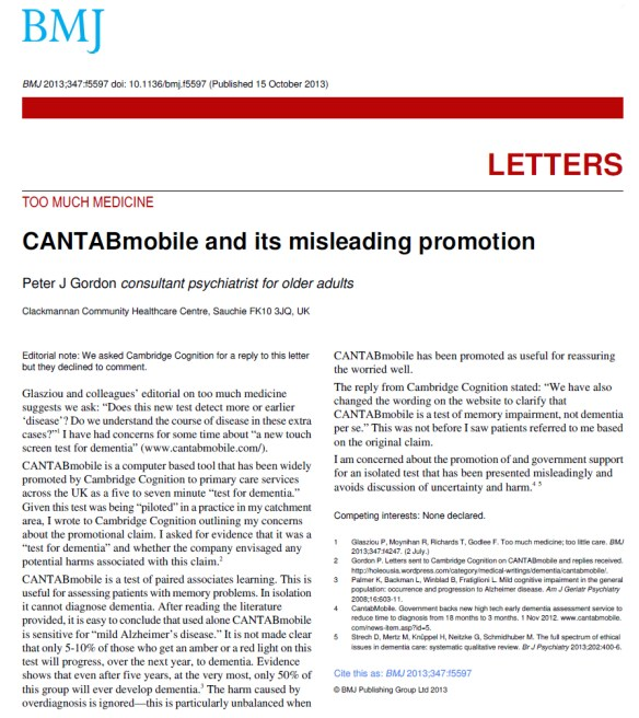 CANTABmobile & its misleading