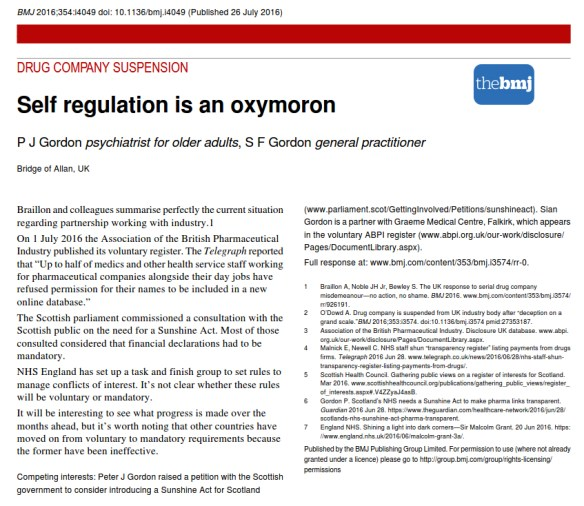 Self regulation is an oxymoron, BMJ, July 2016