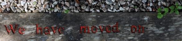 'We have moved on' carved on bottom step (for Dr Neil Houston)