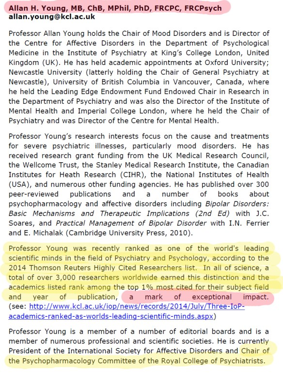 Prof Allan Young as organiser of RCPsych Conf
