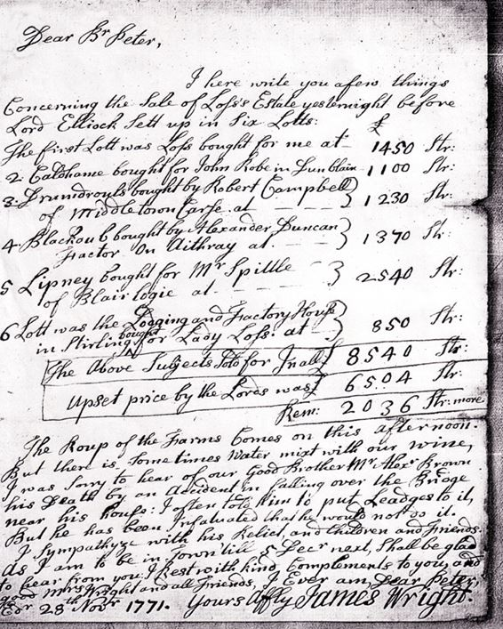 Wrights sell their estate 1771