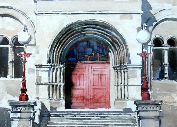 Museum Hall steps and door